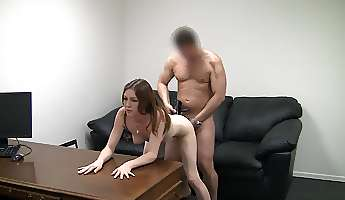 Pale skinned cutie fucks on the casting couch