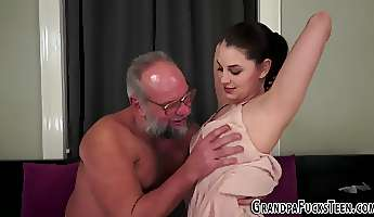 Teen creampied by grandpa
