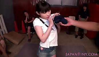 Toy stimulated tiny japanese babe squirting