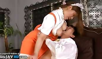 Japanese maid with big natural tits satisfies her boss